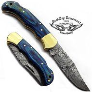 """beautifull Blue Wood 6.5"""" 100% Handmade Damascus Steel Folding Pocket Knife With Back Lock We Make Prime Quality Pocket Knifes The blade of knives are nicely hand forged with above (276) laye…"""