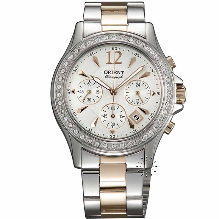 ORIENT Crystal Ladies Two-tone Stainless Steel Bracelet  Τιμή: 309€  http://www.oroloi.gr/product_info.php?products_id=29359