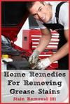 See tips for removing grease stain and motor oil stain removal here, several with videos. In addition, you can submit your own tips too.