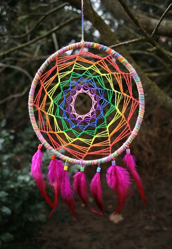 Rainbow UV Dreamcatcher for Decoration or Catching by PsyMagic, €26.00
