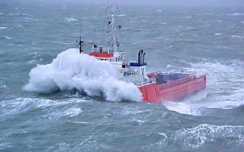 Newfoundland, Canada. Some of the difficulties work boats encounter when resuppling oil rigs in Newfoundland.