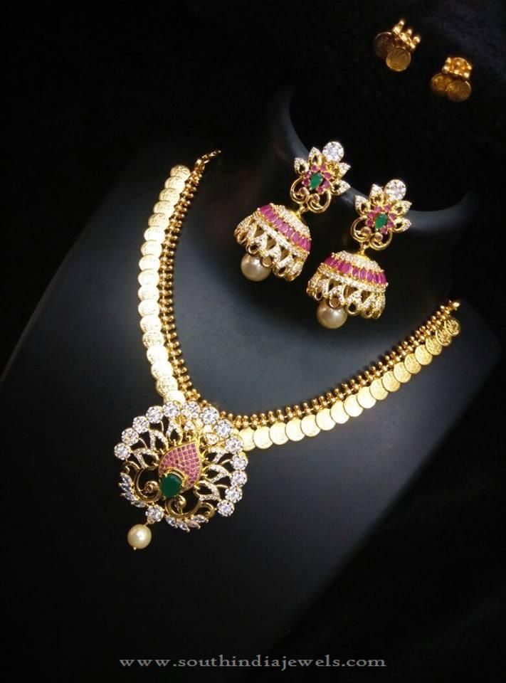One Gram Gold Kasumalai, Gold Plated Kasumalai Designs, Necklace with Dual Earrings.