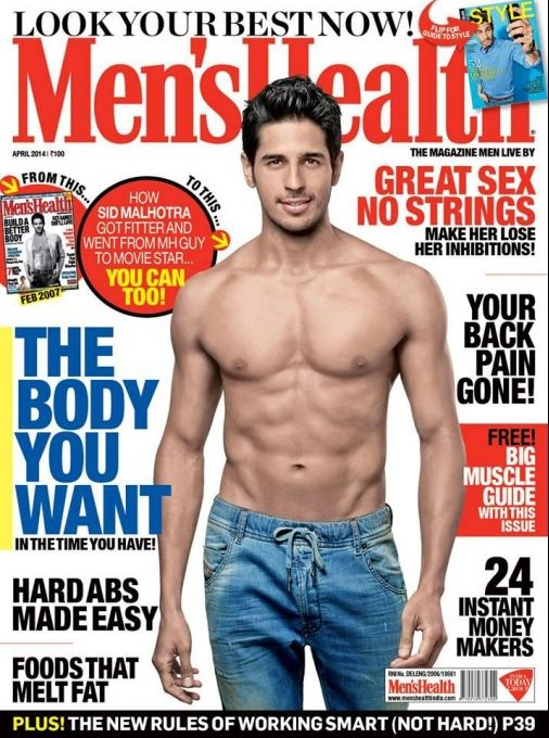 Sidharth Malhotra on the cover of Men's Health April 2014. #Style #Bollywood #Fashion #Handsome