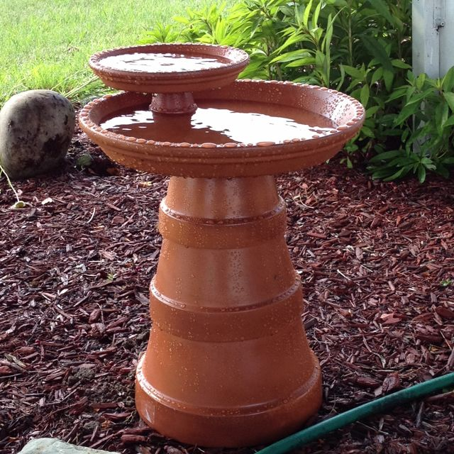 Terra-cotta pot birdbath