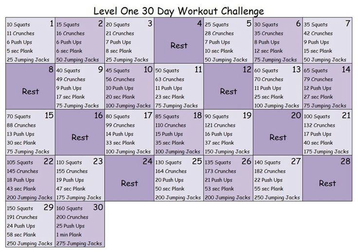 30 day workout challenge- level 1
