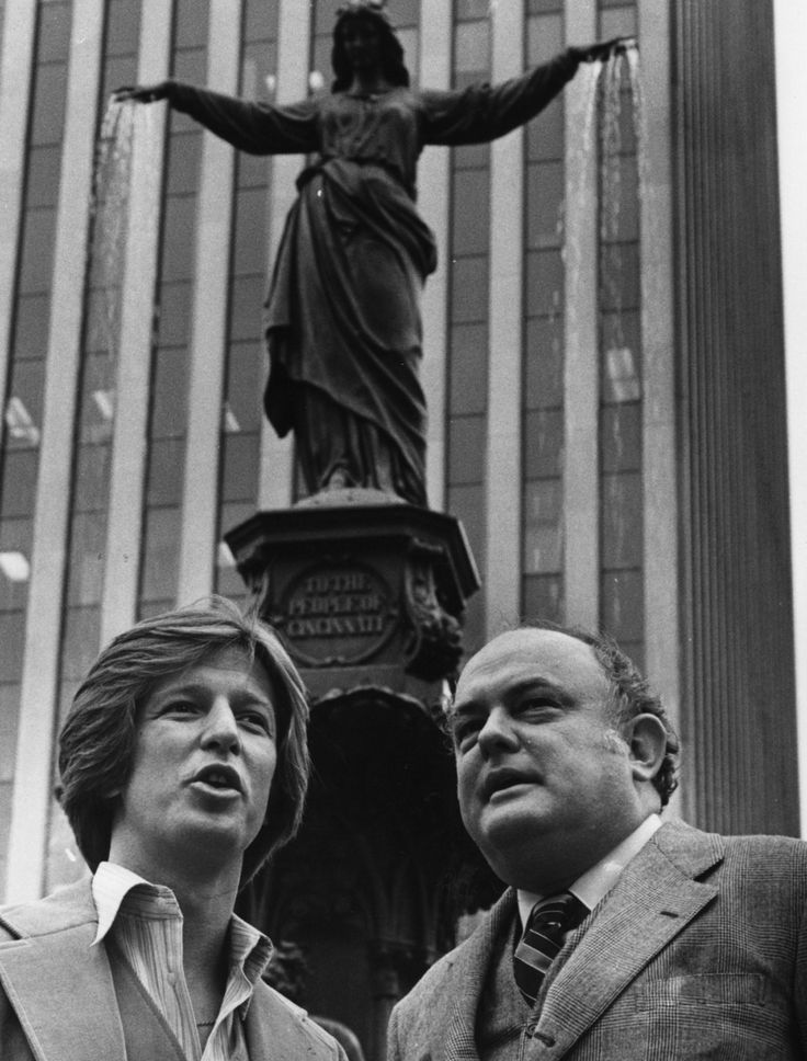 """Happy Anniversary, WKRP Cincinnati. Photo: NOVEMBER 1978: """"WKRP in Cincinnati"""" stars Gary Sandy (left) and Gordon Jump get a first-hand look at Fountain Square's Tyler Davidson Fountain shown in the CBS sitcom's opening credits. Sandy (as program director Andy Travis) and Jump (as station manager Arthur the """"Big Guy"""" Carlson) visited Cincinnati to promote the show in November 1978, two months after """"WKRP"""" premiered. The Enquirer/Gerry Wolter"""