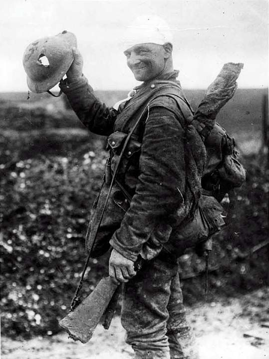 Hole in a helmet. WWI soldier.