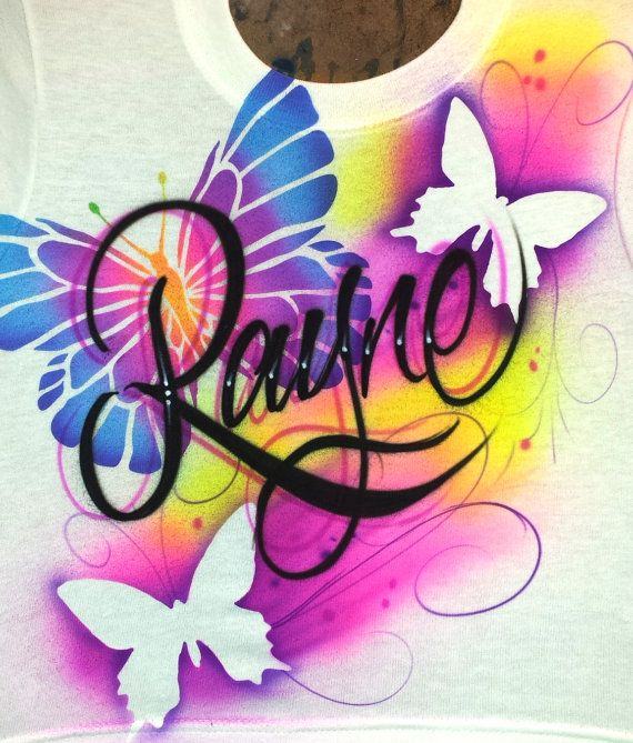 Airbrush Butterfly Shirt with YOUR NAME by 1AirbrushGoddess, $20.00