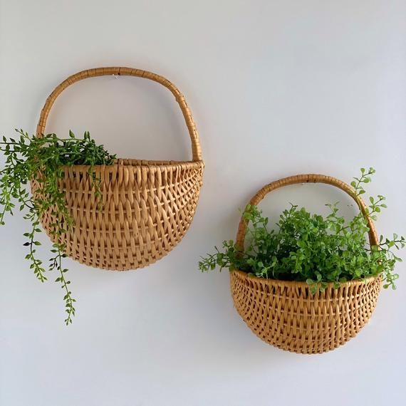 Woven Rattan Wall Baskets Set Of 2 Hanging Wall Pockets Etsy Baskets On Wall Hanging Wall Baskets Wicker Baskets With Handles