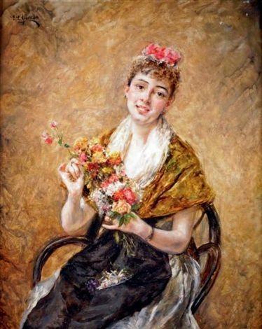 Jeune fille au bouquet by Eduardo León Garrido