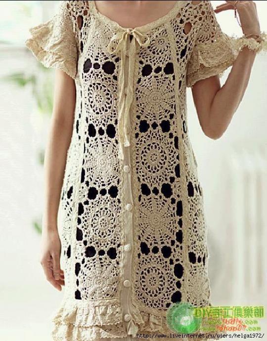 Crochetemoda: Vestido Bege de Crochet II. Dress with chart pattern.