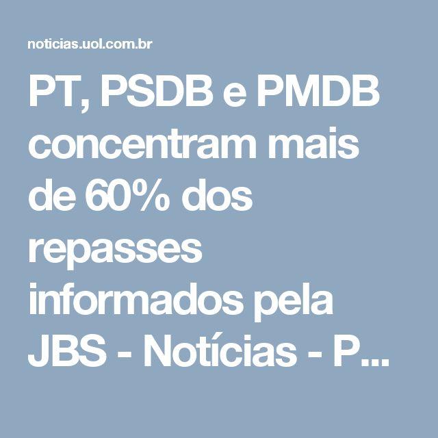 PT, PSDB e PMDB concentram mais de 60% dos repasses informados pela JBS - Notícias - Política