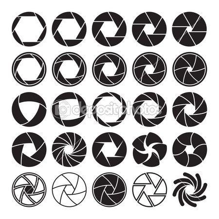 Ícones de obturador de câmera — Ilustração de Stock #52299321