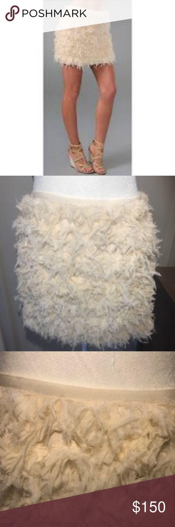 "NWT Diane Von Furstenberg Ivory Chiffon Mini Skirt NWT Diane Von Furstenberg Ivory/Cream Chiffon Mini Skirt ""Postage Stamp Mini"" Elastic Waist Fully Lined Hand Cut Chiffon Fringe Size 4 Diane von Furstenberg Skirts Mini"
