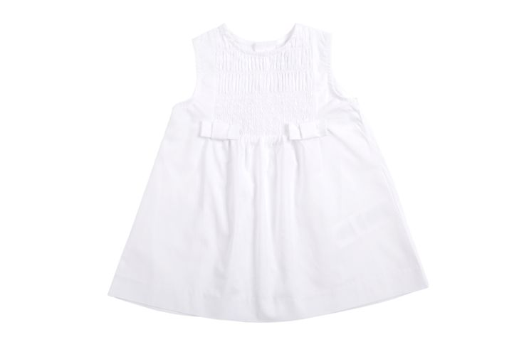 Vestido #EPK blanco para bebe niña de popelina y en la parte de adelante un nido de abeja con dos lazitos. #bautizo  http://www.shopepk.com.co/index.php?page=shop.product_details&flypage=flypage.tpl&product_id=1&category_id=3&option=com_virtuemart&cat=1&Itemid=69