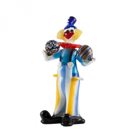 #Handmade#MuranoGlassclown created using the ancient#muranoglassmasters technique. Our clowns are unique art pieces, lesser color differences are quality marks of the product. Diameter 15 x height 38, price: 270 euro. Visit our web site www.sognidicristallo.it to see or buy online our creations!