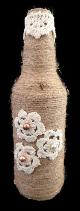 Floral Twine Wrapped Bottle, Decorated Glass Bottle, Twine Bottle, Rustic Wedding Table, Wedding Decorations, Wedding Decor, Home Decor