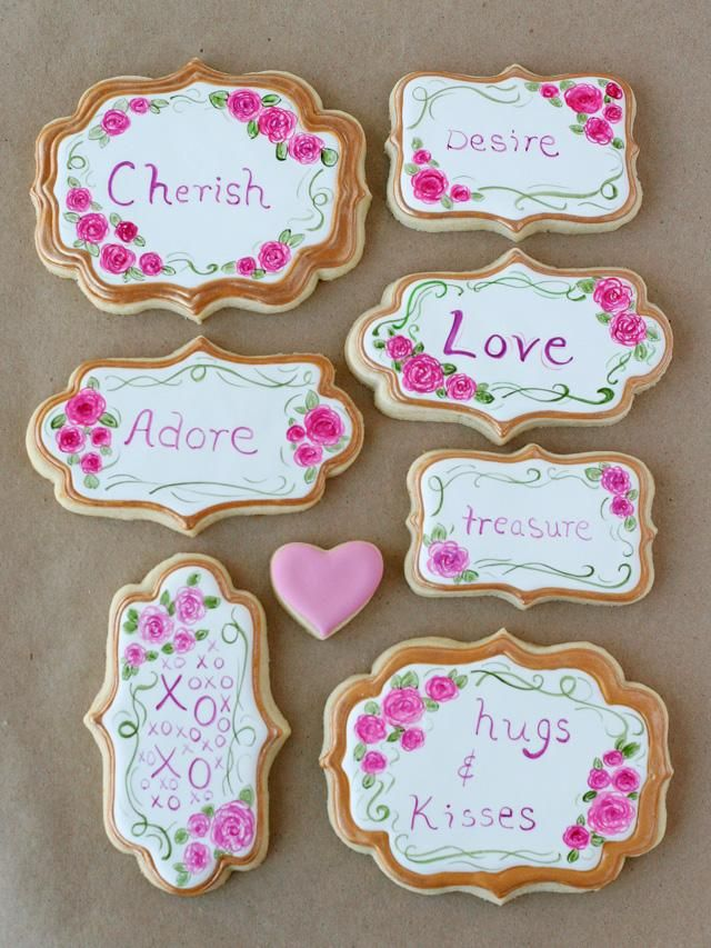 Pretty Painted Valentine's Cookies - by Glorious Treats