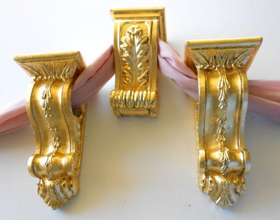 set of gold curtain sconces drapery holders gold curtain rod holders curtain brackets gold leaf curtain pole holder sconces by on etsy