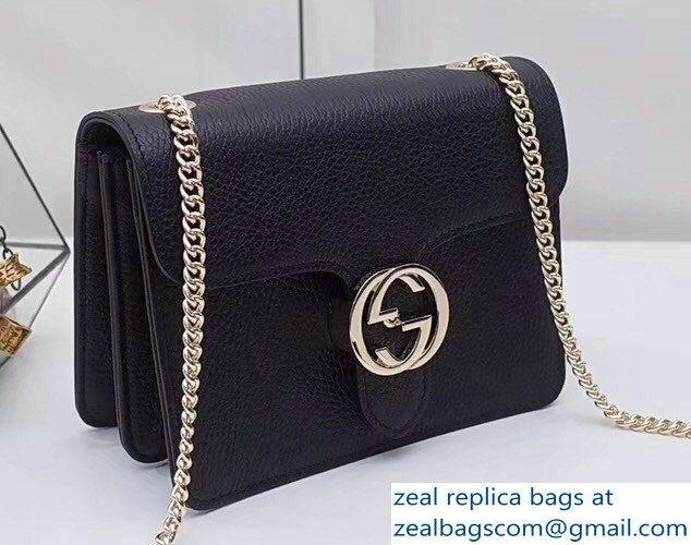 be3654adaf0 Gucci Interlocking G Buckle Chain Leather Shoulder Small Bag 510304 Black  2018