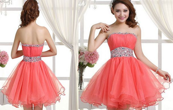 Coral Homecoming Dress,Sexy Homecoming Dresses,Tulle Homecoming Gown,Beading Party Dress,Short Prom Dress,Off the shoudler dress