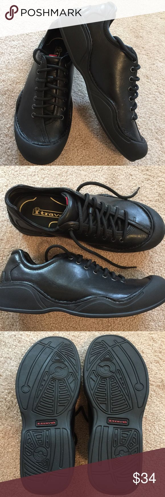 Men's Rockport ITravel Leather Walking Shoe NWOT Men's ITravel black leather walking shoe. Perfect condition. These well-made Rockport ITravel walking sneakers have a leather upper and a cushioned footbed for added comfort. They have a lace up closure for a secure fit. EVA midsole for added lightweight cushioning and a rubber outsole.  Travel the road less taken in these comfortable shoes! Please refer to photos. Thanks for visiting my closet. Happy poshing! Rockport Shoes Sneakers