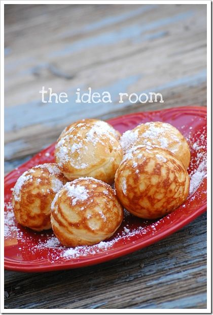 These are a family favorite for Breakfast. Break them open and serve with Jams or Syrups and some confectioner's sugar.  A great Breakfast Recipe Idea -Aebleskivers | theidearoom.net
