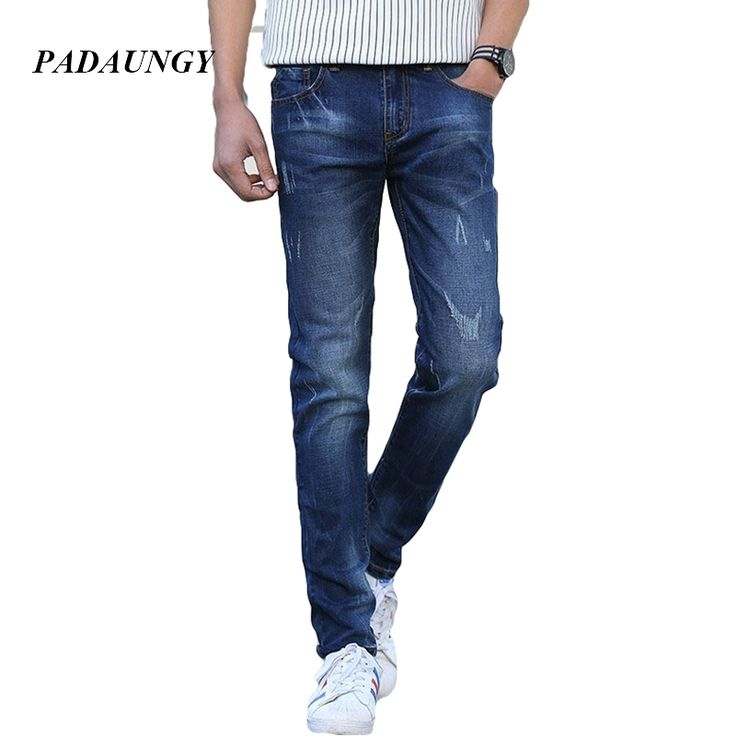 29.69$  Watch more here  - PADAUNGY Straight Middle-Age Jeans Homme Autumn Winter Pants Denim Trousers Masculina Pantalones Vaqueros Hombre Slim Jeggings