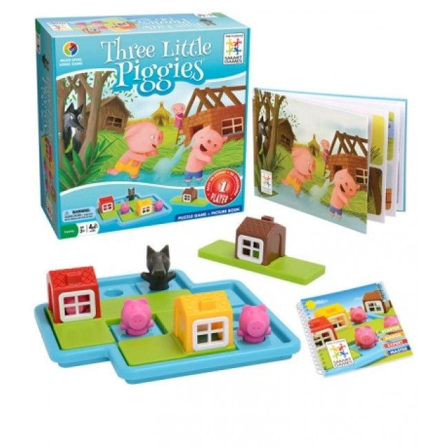 A super fun, puzzle brain game that helps develop logical thinking skills and strategic planning. Help the three smart pigs build a house before the wolf comes out to play! For ages 3-6. #game #entropytoys #learninggame #educational #fun