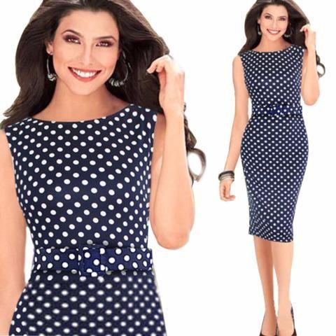 Stylish Polka Dot Casual Work Dress