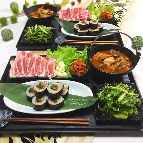 . 今日は福岡から可愛がってる子が 遊びに来てくれたので 久しぶりに#韓国料理 でおもてなし . *#キンパ *#サムギョプサル ←鉄板で焼きながら *チョレギサラダ *#スンドゥブチゲ . ちょっと早い時間から乾杯 . #韓国 #晩ごはん #おうちごはん #クッキングラム #デリスタグラマー #おうちカフェ #料理 #料理写真 #手料理 #料理教室 #delicious #LIN_stagrammer #instafood #yummy #kitakyushu #fukuoka #cookingram #cooking #foodphoto #foodpic  #eat #wp_delicious_jp