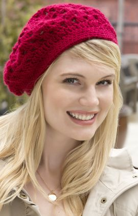 "Free Crochet Hat Beret Pattern RED HEART® Soft®: 2 balls of 00005 Wine Crochet Hook: 5.5 mm [US I-9]  1 meter [yard] of 13mm [½""] wide elastic (optional), sewing needle and matching thread, yarn needle Size:  One size fits most  Finished Size: 53.5 cm [21""] circumference Gauge/Tension:  TENSION/GAUGE: Rounds 1-3 = 7.5 cm [3""] across. CHECK YOUR TENSION/GAUGE. Use any size hook to obtain the tension/gauge. with Pattern correction"