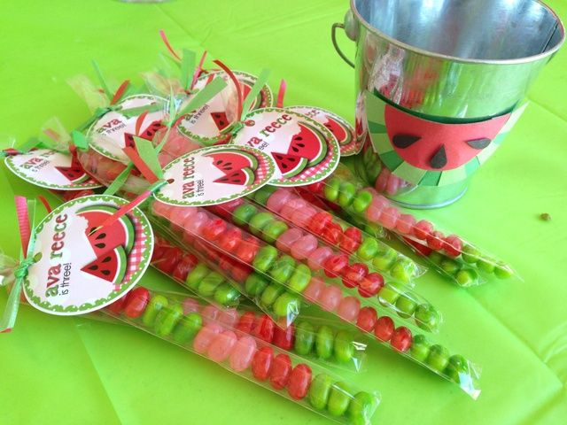 Themed candy at a watermelon party!  See more party ideas at CatchMyParty.com!  #partyideas #watermelon