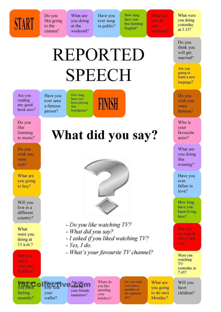Reported Speech - a boardgame - Repinned by Chesapeake College Adult Ed. We offer free classes on the Eastern Shore of MD to help you earn your GED - H.S. Diploma or Learn English (ESL). www.Chesapeake.edu