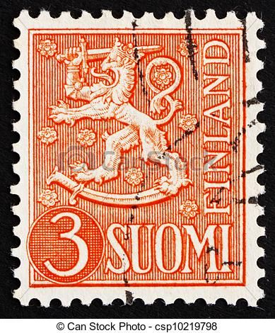 vintage postage Finland | Photo - Postage stamp Finland 1954 Arms of the Republic of Finland ...