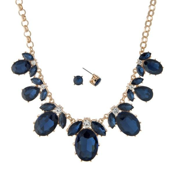 "16"" Gold tone statement necklace set with navy blue large oval shaped rhinestones. Perfect for prom, homecoming, formal or social events."