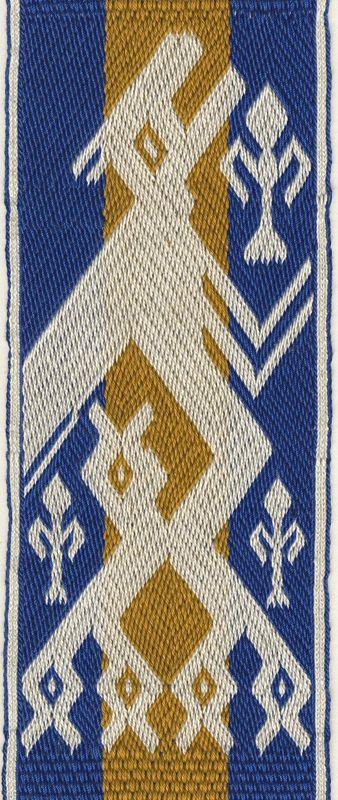 Motif of the so-called Arlon bands. 3/1 broken twill tablet weave.  Marijke van Epen