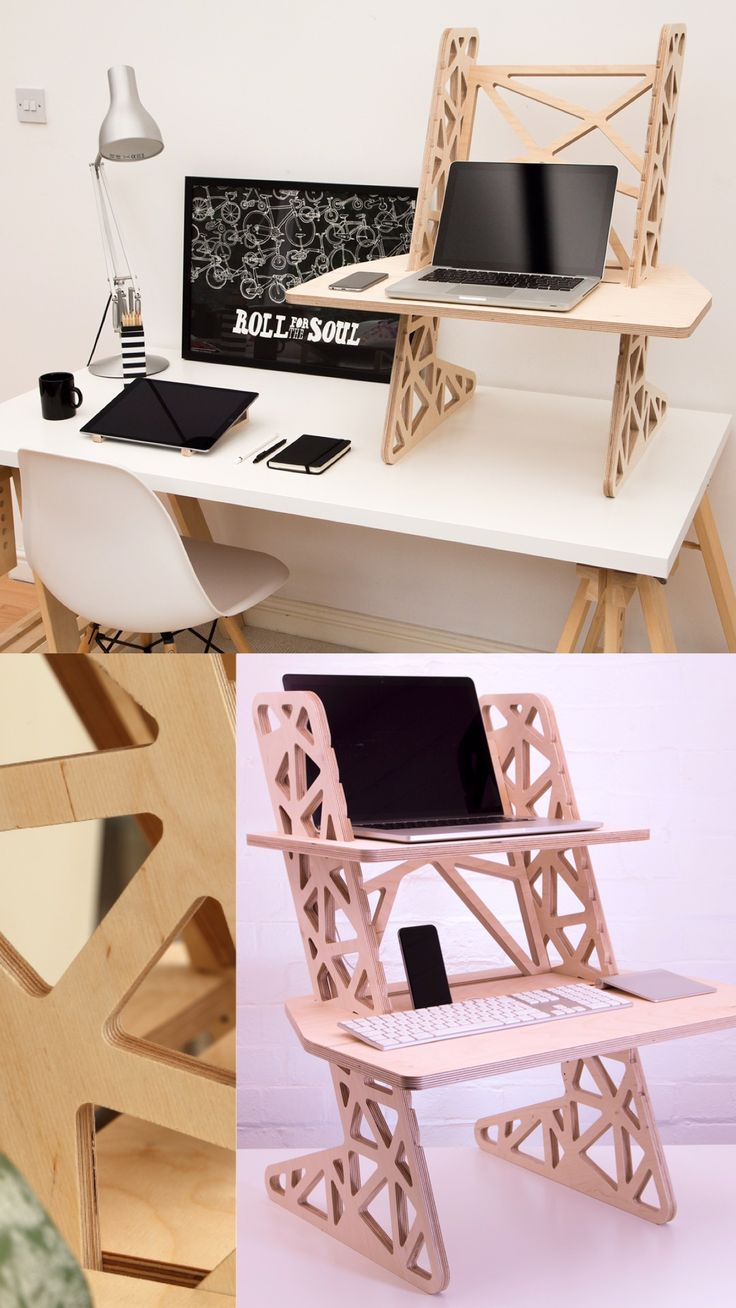 Helmm S-Desk Voro - a voronoi inspired standing desk made from 18mm plywood. Designed and made  in Britain.