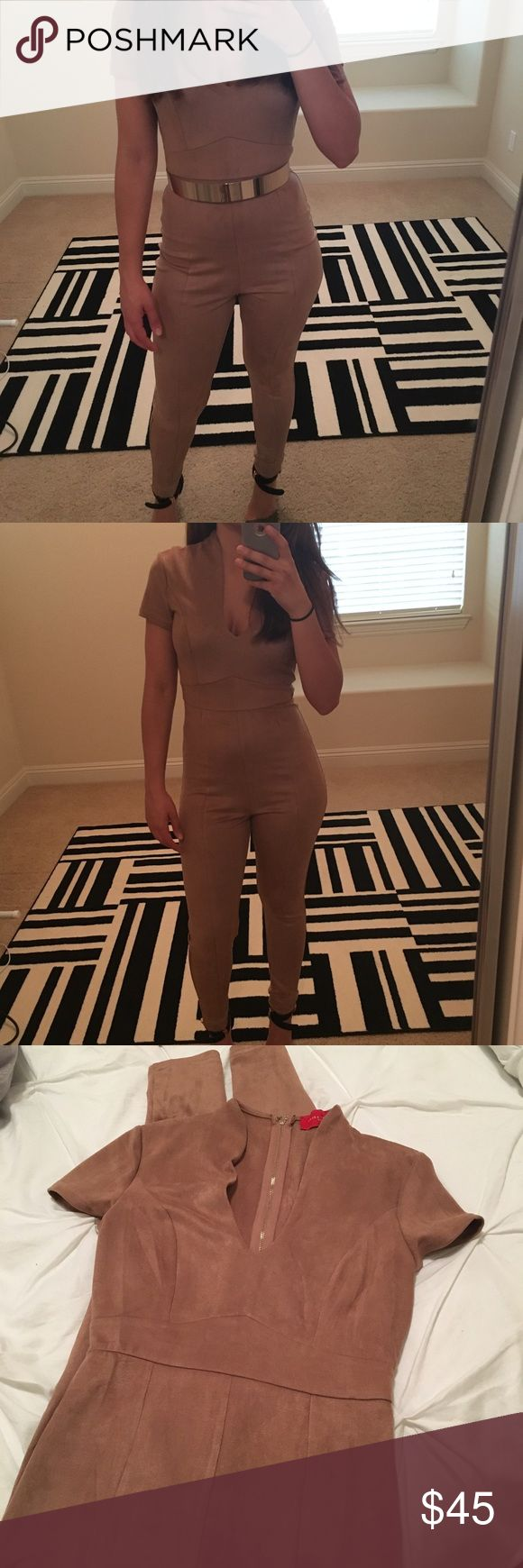 Akira camel jumpsuit Never worn (only to model). Suede like material. Does not come with the belt. Size medium, but fits like a US 4-6. AKIRA Pants Jumpsuits & Rompers