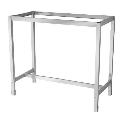 IKEA - UTBY, Untergestell, Untergestell aus Edelstahl; stabil, robust und pflegeleicht.Verstellbare Fußkappen sorgen für Standfestigkeit auch bei leicht unebenem Boden.