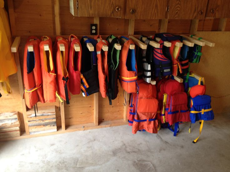Space Saving life jacket rack. http://garageremodelgenius.com/