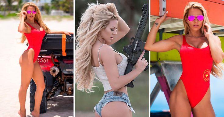 Kindly Myers es una sensual exmilitar que decidió dedicarse al modelaje, y también rendir homenaje a Pamela Anderson y su personaje en Baywatch