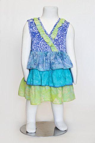 Batik summer dress, ruffles, colorful