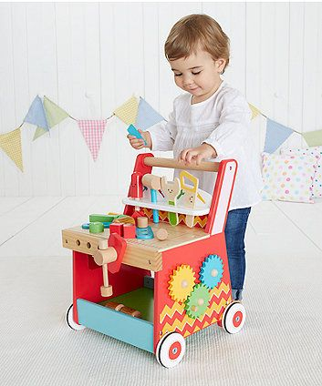 ELC Wooden Activity Workbench Walker | baby walkers & pull along toys | Mothercare