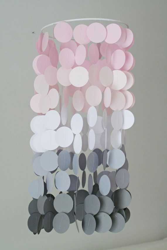 Pink and Gray Ombre Mobile; butterfly paper stamps, paint samples, fish wire, ribbon & cross stitch loom