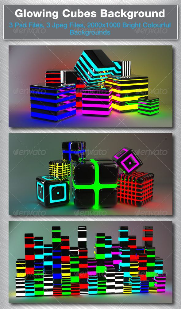 3D Glowing Cubes  #GraphicRiver         3 2000×1000 Psd/Jpeg Files   3D Colourful, Bright, Backgrounds     Created: 10August11 GraphicsFilesIncluded: PhotoshopPSD Layered: No MinimumAdobeCSVersion: CS PixelDimensions: 2000x1000 Tags: 3d #background #beautiful #blocks #box #bright #colourful #cool #cubes #reflective #rendered #squares #vivid