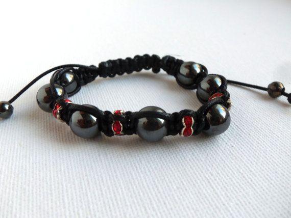 Shamballa bracelet hematite beads with by NataliShowroom on Etsy