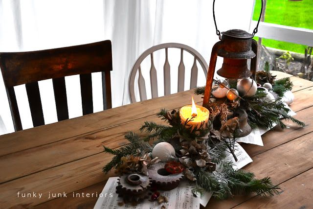 i love the paper base for this tablescape Funky Junk Interiors: A 2012 Funky Junk Christmas home tour - Day 12
