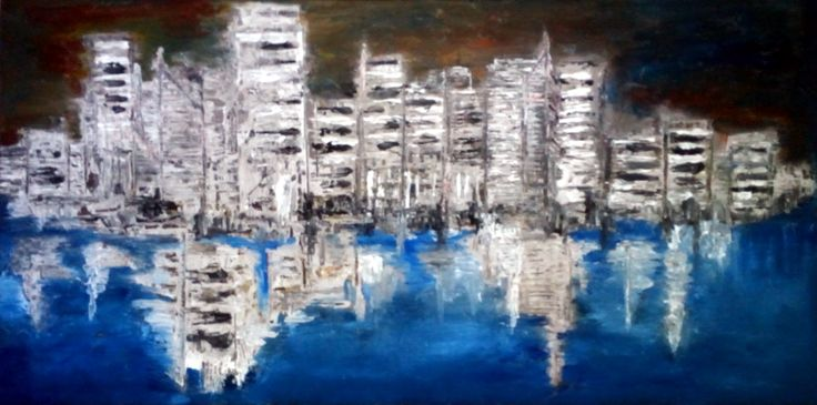 """De Flo Nr.99.Abstracta painting [Urban Reflections]- D [100x50] Pictura abstracta lucrari originale De Flo """"The painting has a life of its own. I try to let it come through""""     -Jackson Pollock-"""