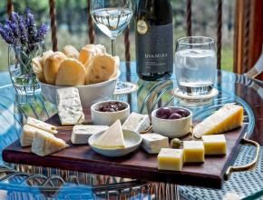 Artisanal cheese platters served in the Tasting Room.